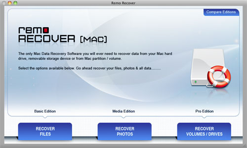Formatted Mac Data Recovery - Main Screen
